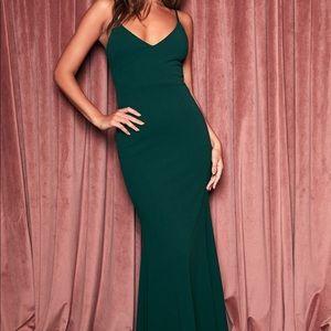 Lulu's infinite glory forest green maxi dress